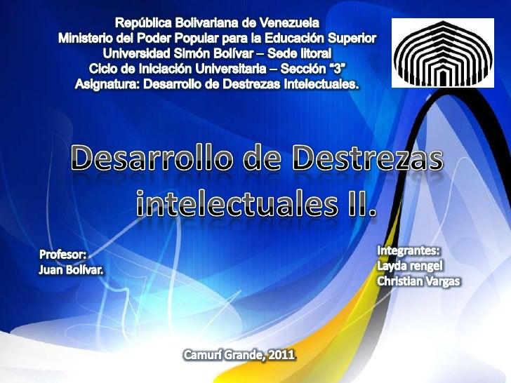 República Bolivariana de VenezuelaMinisterio del Poder Popular para la Educación SuperiorUniversidad Simón Bolívar – Sede ...