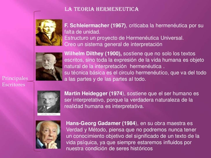 LA TEORIA HERMENEUTICA<br />F. Schleiermacher (1967), criticaba la hermenéutica por su falta de unidad.<br />Estructuro un...