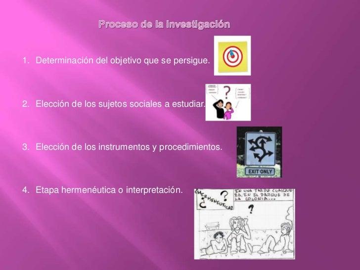Proceso de la investigación<br />Determinación del objetivo que se persigue.<br />Elección de los sujetos sociales a estud...