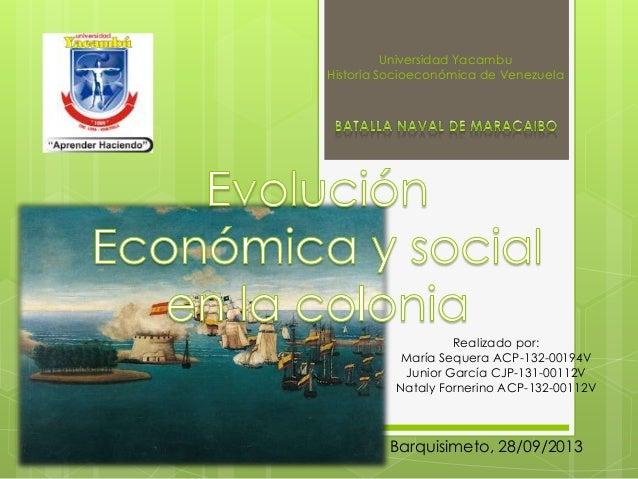 Universidad Yacambu Historia Socioeconómica de Venezuela Realizado por: María Sequera ACP-132-00194V Junior García CJP-131...