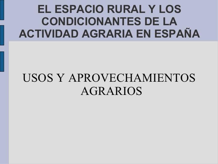 EL ESPACIO RURAL Y LOS   CONDICIONANTES DE LAACTIVIDAD AGRARIA EN ESPAÑAUSOS Y APROVECHAMIENTOS         AGRARIOS