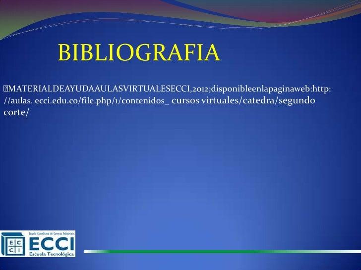 BIBLIOGRAFIAMATERIALDEAYUDAAULASVIRTUALESECCI,2012;disponibleenlapaginaweb:http://aulas. ecci.edu.co/file.php/1/contenido...
