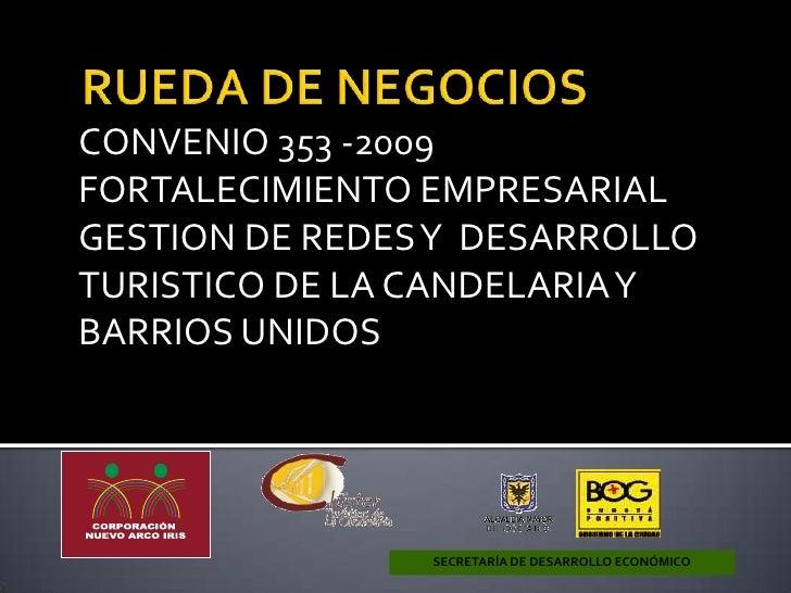 RUEDA DE NEGOCIOS<br />SECRETARÍA DE DESARROLLO ECONÓMICO<br />CONVENIO 353 -2009<br />FORTALECIMIENTO EMPRESARIAL GESTION...