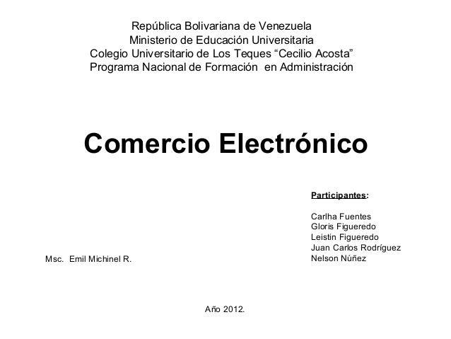 República Bolivariana de Venezuela                 Ministerio de Educación Universitaria          Colegio Universitario de...