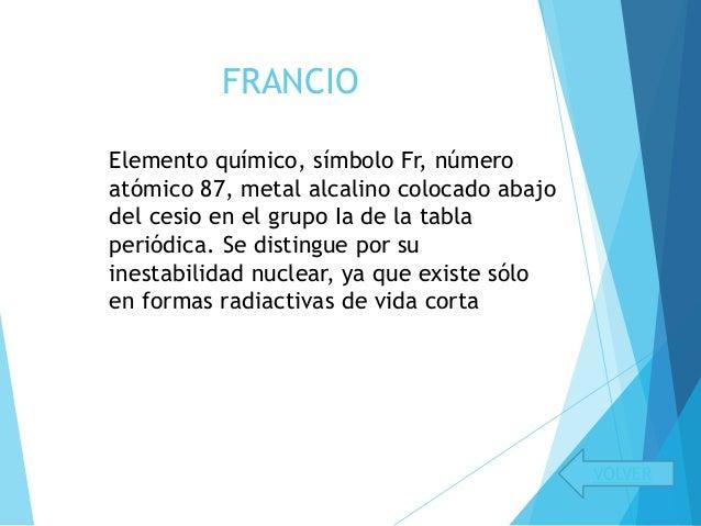 Presentacion de la tabla peridica francio volver elemento urtaz Gallery