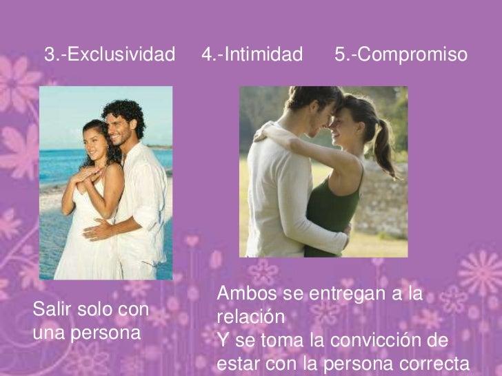 3.-Exclusividad   4.-Intimidad   5.-Compromiso                    Ambos se entregan a laSalir solo con      relaciónuna pe...