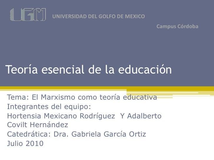 UNIVERSIDAD DEL GOLFO DE MEXICO                                              Campus Córdoba     Teoría esencial de la educ...