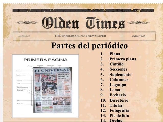 Presentacion del periodico for Cuales son las partes de un periodico mural