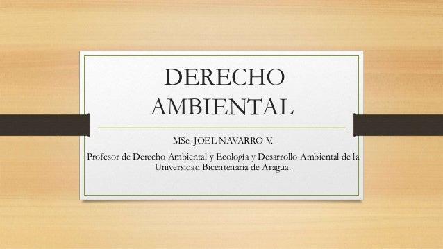 DERECHO AMBIENTAL MSc. JOEL NAVARRO V. Profesor de Derecho Ambiental y Ecología y Desarrollo Ambiental de la Universidad B...