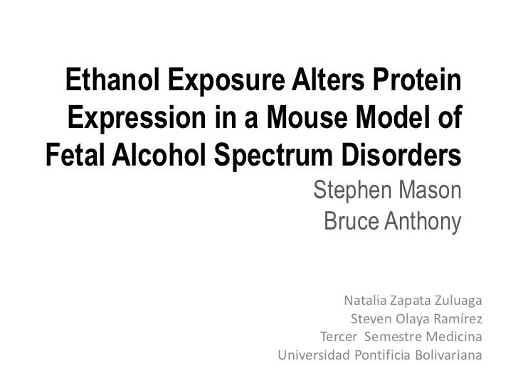 Ethanol Exposure Alters Protein Expression in a Mouse Model ofFetal Alcohol Spectrum Disorders                      Stephe...