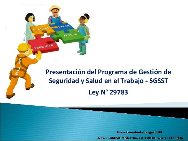 Presentación del Programa de Gestión deSeguridad y Salud en el Trabajo - SGSSTLey N° 29783Burns Consultoria Integral EIRLB...