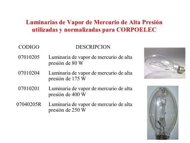 Luminarias de Vapor de Mercurio de Alta Presiónutilizadas y normalizadas para CORPOELECCODIGO DESCRIPCION07010205 Luminari...