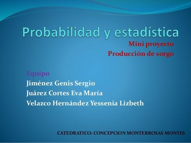 Mini proyecto Producción de sorgo Equipo Jiménez Genis Sergio Juárez Cortes Eva María Velazco Hernández Yessenia Lizbeth C...