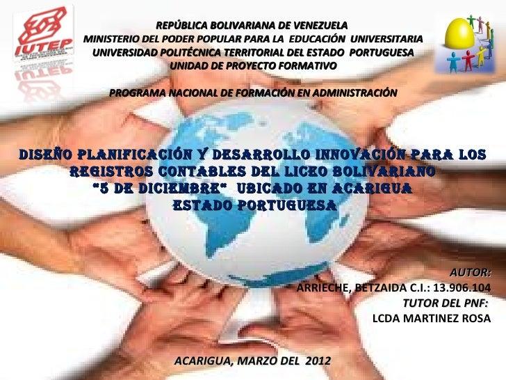 REPÚBLICA BOLIVARIANA DE VENEZUELA       MINISTERIO DEL PODER POPULAR PARA LA EDUCACIÓN UNIVERSITARIA        UNIVERSIDAD P...