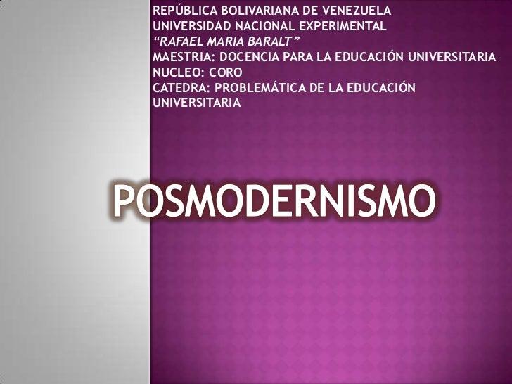 "REPÚBLICA BOLIVARIANA DE VENEZUELAUNIVERSIDAD NACIONAL EXPERIMENTAL""RAFAEL MARIA BARALT"" MAESTRIA: DOCENCIA PARA LA EDUCAC..."