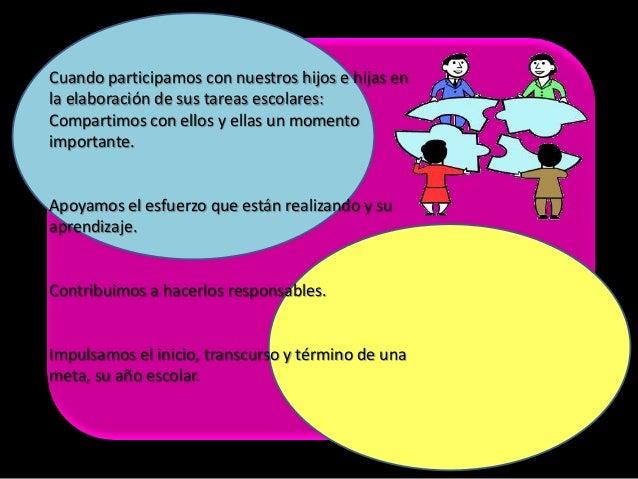 Cuando participamos con nuestros hijos e hijas enla elaboración de sus tareas escolares:Compartimos con ellos y ellas un m...