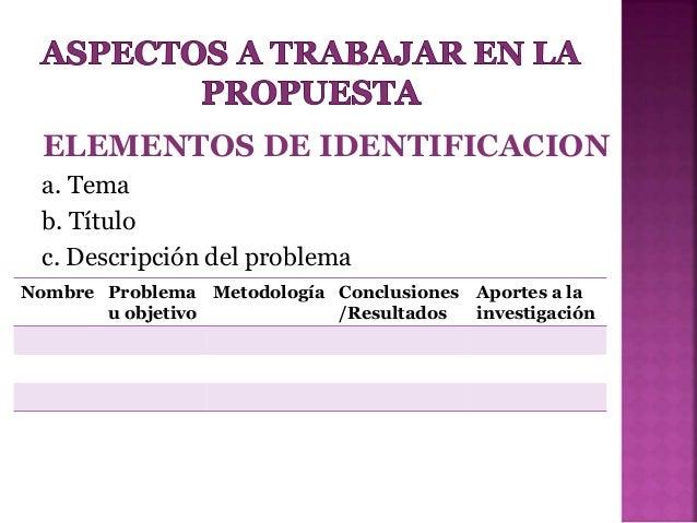 Criterios para Presentacion de Propuesta de Investigación Slide 2
