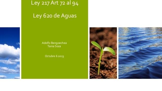 Ley 217 Art 72 al 94 Ley 620 de Aguas  Adolfo Bengoechea Tania Soza Octubre 6 2013