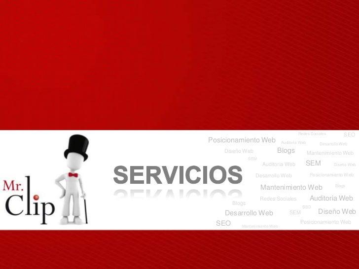 Redes Sociales          SEOPosicionamiento Web           Auditoria Web        Desarrollo Web     Diseño Web             Bl...