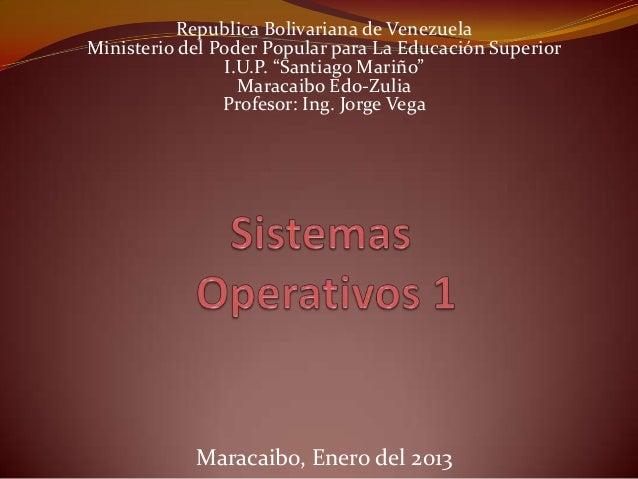 """Republica Bolivariana de VenezuelaMinisterio del Poder Popular para La Educación Superior                I.U.P. """"Santiago ..."""