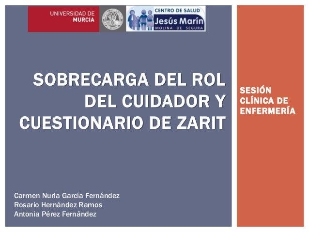 SESIÓN CLÍNICA DE ENFERMERÍA SOBRECARGA DEL ROL DEL CUIDADOR Y CUESTIONARIO DE ZARIT Carmen Nuria García Fernández Rosario...