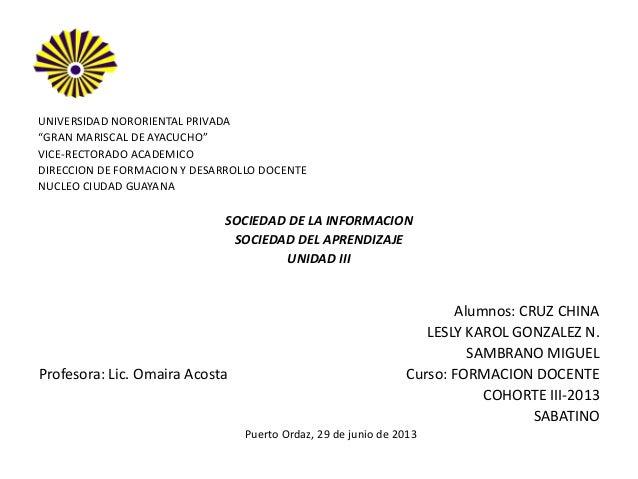 """EL UNIVERSIDAD NORORIENTAL PRIVADA """"GRAN MARISCAL DE AYACUCHO"""" VICE-RECTORADO ACADEMICO DIRECCION DE FORMACION Y DESARROLL..."""