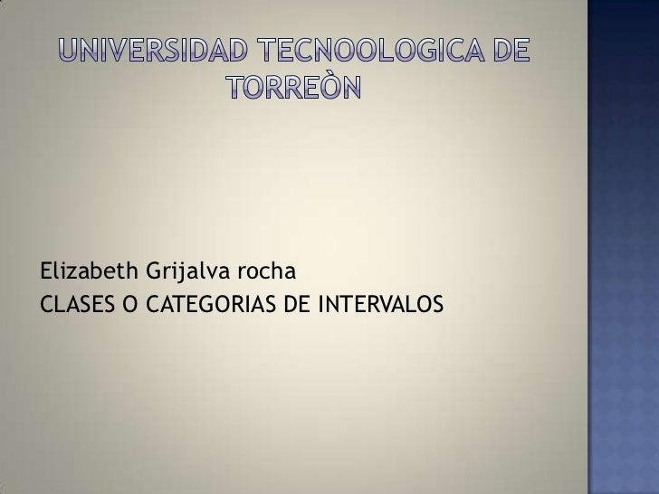 Elizabeth Grijalva rochaCLASES O CATEGORIAS DE INTERVALOS
