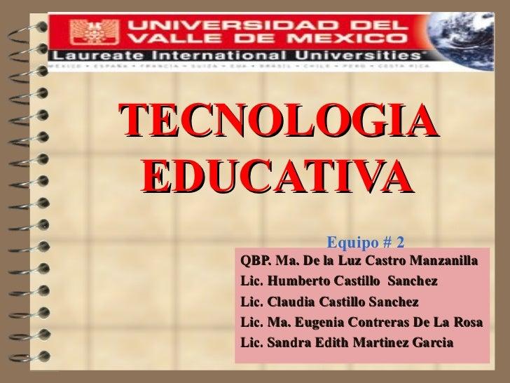 TECNOLOGIA EDUCATIVA QBP. Ma. De la Luz Castro Manzanilla Lic. Humberto Castillo  Sanchez  Lic. Claudia Castillo Sanchez L...