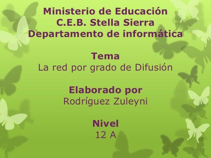 Ministerio de Educación    C.E.B. Stella SierraDepartamento de informática            Tema La red por grado de Difusión   ...