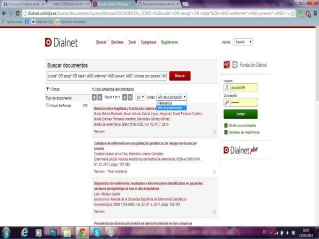 Dialnet • Accedemos desde la página web de la biblioteca de centros de la salud (en la columna de la izquierda) • A contin...