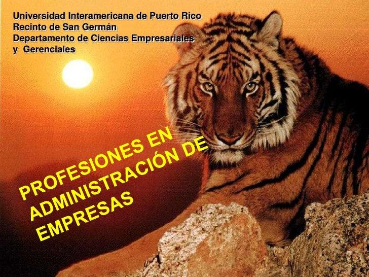 Universidad Interamericana de Puerto RicoRecinto de San GermánDepartamento de Ciencias Empresarialesy  Gerenciales<br />PR...