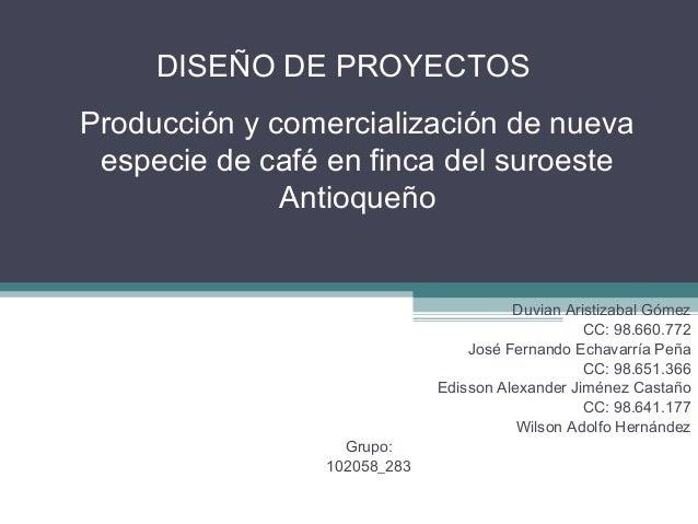 DISEÑO DE PROYECTOSProducción y comercialización de nueva especie de café en finca del suroeste              Antioqueño   ...