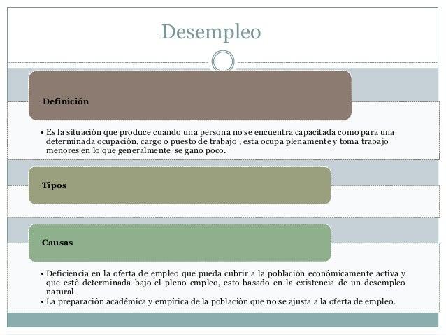 Desempleo • Es la situación que produce cuando una persona no se encuentra capacitada como para una determinada ocupación,...