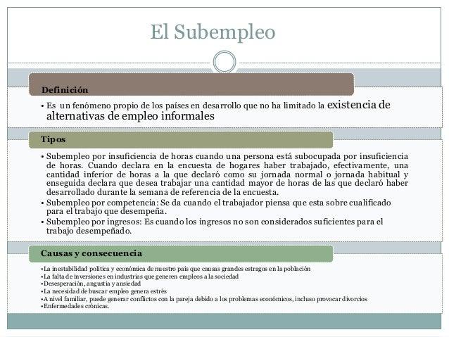 El Subempleo • Es un fenómeno propio de los países en desarrollo que no ha limitado la existencia de alternativas de emple...
