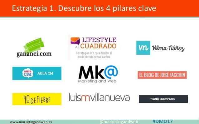 www.marketingandweb.es Estrategia 1. Descubre los 4 pilares clave @marketingandweb #DMD17 ¿Qué tienen en común estos 9 blo...