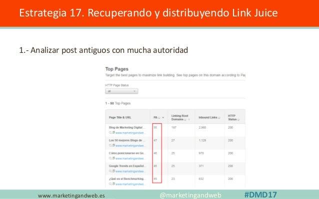 www.marketingandweb.es Estrategia 17. Recuperando y distribuyendo Link Juice 2.- Buscar un post de tipo rankings; ejemplo ...