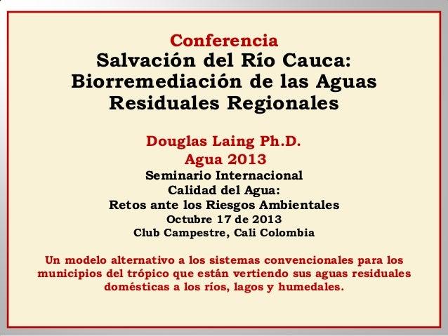 Conferencia  Salvación del Río Cauca: Biorremediación de las Aguas Residuales Regionales Douglas Laing Ph.D. Agua 2013 Sem...