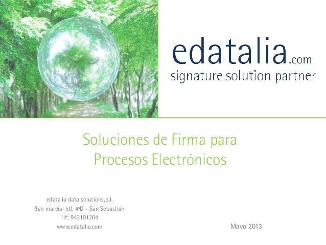 Mayo 2013Soluciones de Firma paraProcesos Electrónicosedatalia data solutions, s.l.San marcial 50, 4ºD - San SebastiánTlf:...