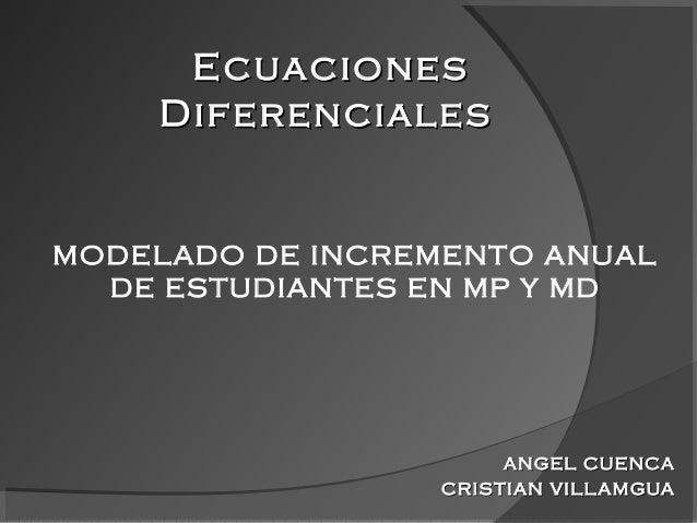 ANGEL CUENCAANGEL CUENCA CRISTIAN VILLAMGUACRISTIAN VILLAMGUA MODELADO DE INCREMENTO ANUAL DE ESTUDIANTES EN MP Y MD Ecuac...