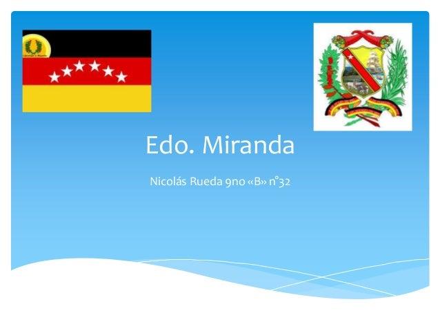 Edo. Miranda Nicolás Rueda 9no «B» n°32