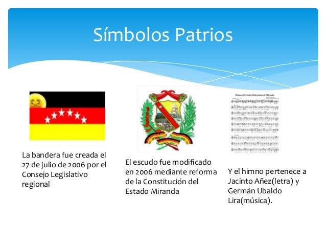 Simbolos Patrios Y Naturales Del Estado Miranda | estado miranda de venezuela