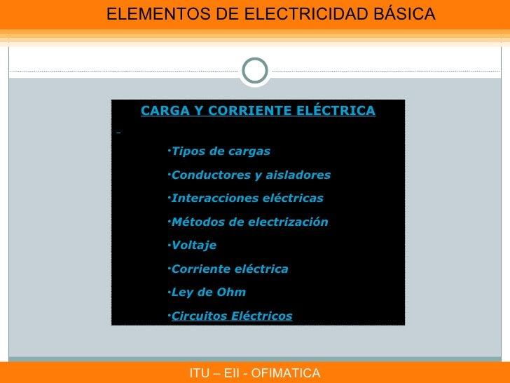 ELEMENTOS DE ELECTRICIDAD BÁSICA   CARGA Y CORRIENTE ELÉCTRICA      •Tipos de cargas      •Conductores y aisladores      •...