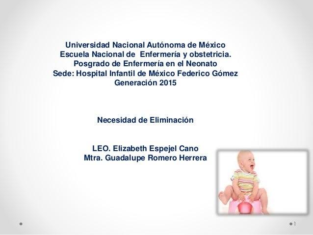 1  Universidad Nacional Autónoma de México  Escuela Nacional de Enfermería y obstetricia.  Posgrado de Enfermería en el Ne...