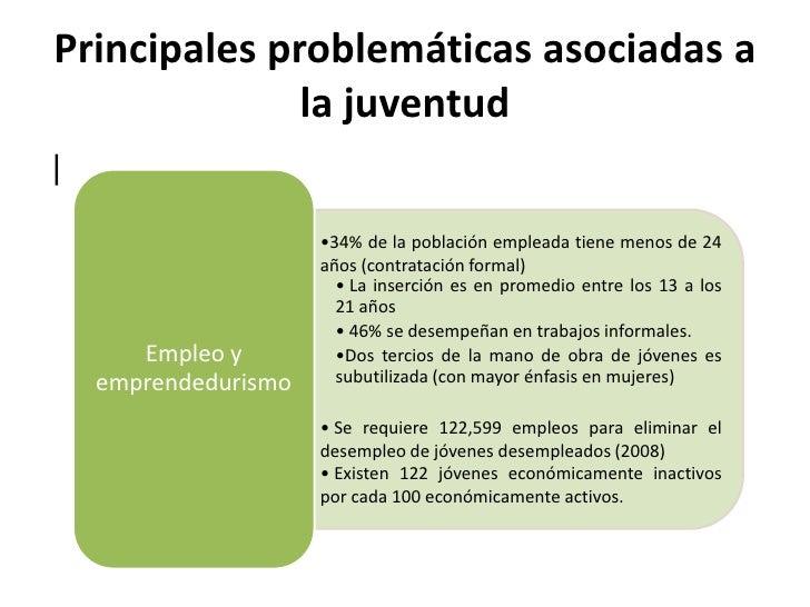 Principales problemáticas asociadas a              la juventud|                  • Mayor deserción escolar a partir       ...