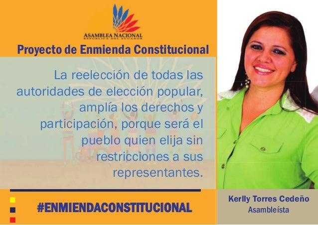 La reelección de todas las autoridades de elección popular, amplía los derechos y participación, porque será el pueblo qui...