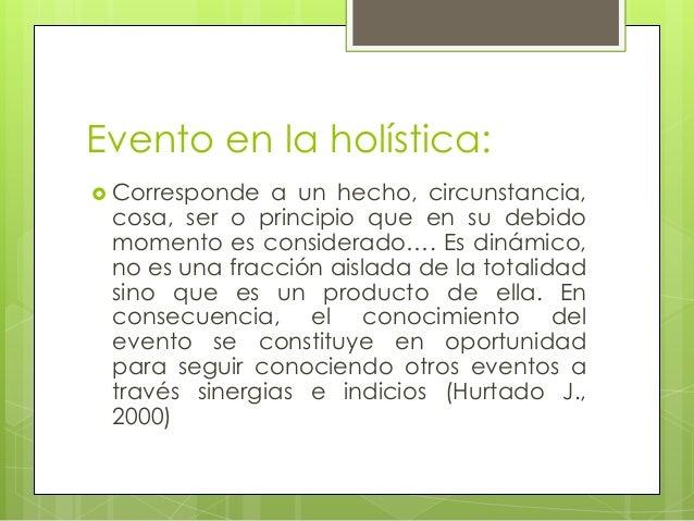 Evento en la holística: Corresponde a un hecho, circunstancia,cosa, ser o principio que en su debidomomento es considerad...