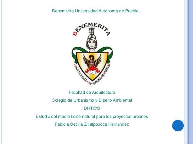 Benemérita Universidad Autónoma de Puebla Facultad de Arquitectura Colegio de Urbanismo y Diseño Ambiental DHTICS Estudio ...
