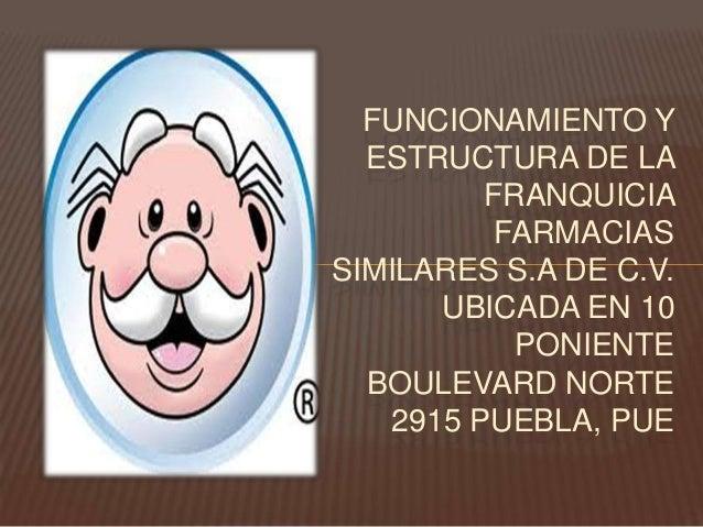 FUNCIONAMIENTO Y  ESTRUCTURA DE LA         FRANQUICIA          FARMACIASSIMILARES S.A DE C.V.      UBICADA EN 10          ...