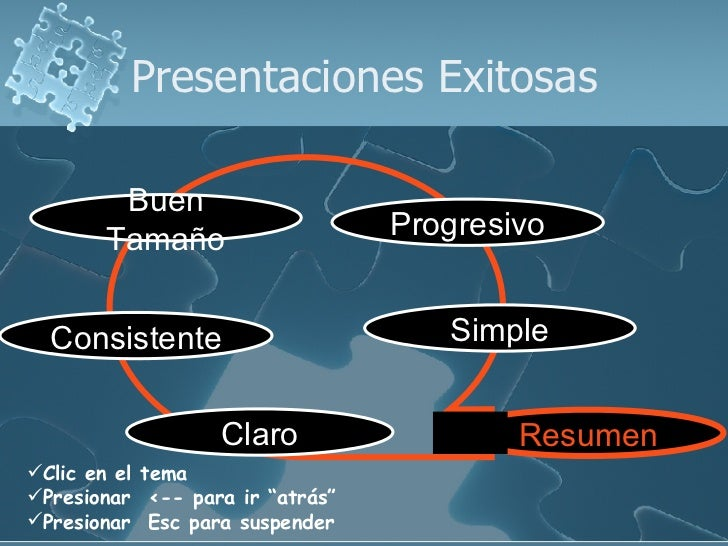 "Presentaciones Exitosas <ul><li>Clic en el tema  </li></ul><ul><li>Presionar  <-- para ir ""atrás"" </li></ul><ul><li>Presio..."