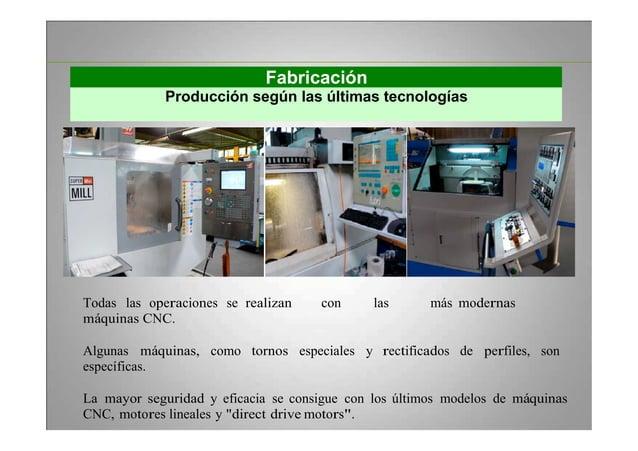 Fabricación Producción según las últimas tecnologías Todas las operaciones se realizan con las más modernas máquinas CNC. ...